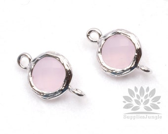 F145-S-IP// Rhodium Framed Ice Pink Faceted Round Glass Connector, 2 pcs