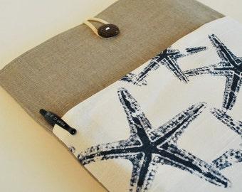 Cute Blue Starfish Kindle Paperwhite Case iPad Sleeve E-Reader Cover iPad Air Case iPad Cover iPad Mini Sleeve Padded Linen