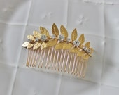 Gold leaf and rhinestone hair comb