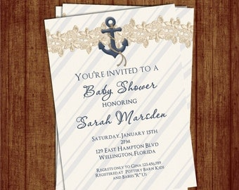Nautical Baby Shower Invitation - Navy Boy Baby Nautical Shower Invitations -