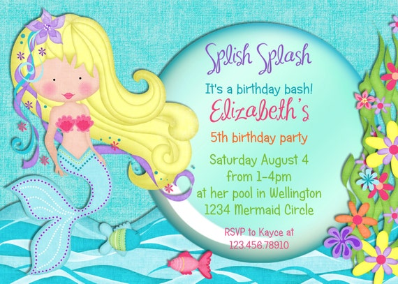 Pretty Mermaid Birthday Party Invitation - Fish Under the Sea Pool Party Printable and Custom Invite Choose Your Mermaid