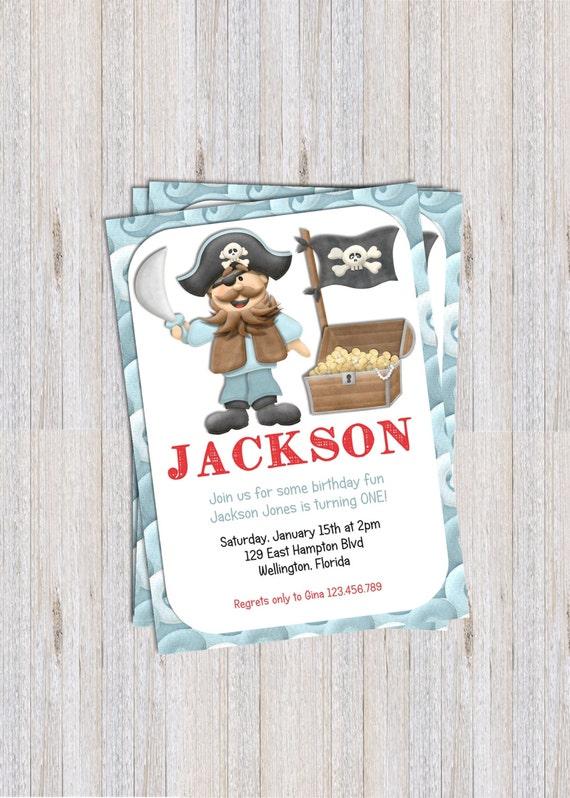 Pirate and Treasure Boy Theme Birthday Invitation