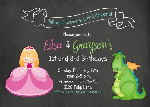 Chalkboard Princess Dragon Birthday Invitation
