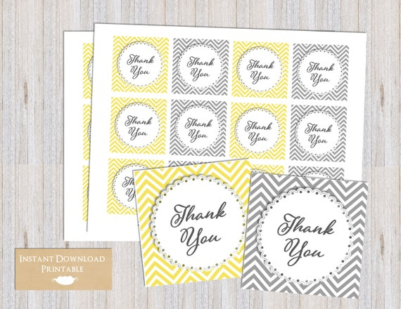 Yellow and Gray Chevron Printable Thank You Favor Tags for Baby Shower