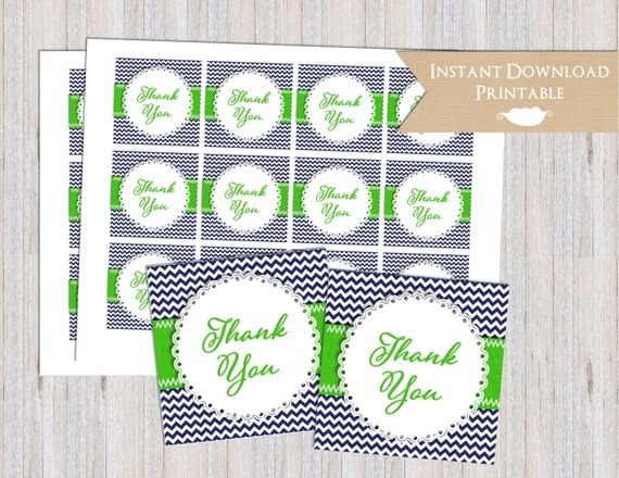 Navy Blue and Lime Green Chevron Printable Thank You Favor Tags for Baby Shower INSTANT DOWNLOAD