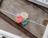 Ivory Coral and Cool Mint Felt Rosettes with  Sliver Glitter Leaves Baby Flower Headbands Newborn Headbands Girls Headbands Photography Prop