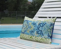 "Outdoor Pillows, Kid Friendly Pillows, Blue Paisley Indoor Outdoor Lumbar,Pillows, Lumbar Pillows,12""x18"" in decorative pillow,patio decor"