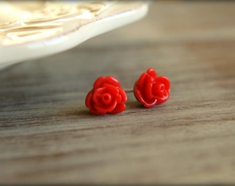 Tiny Rose Flower Earring Studs, Multiple Colors Available