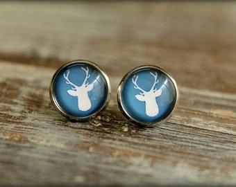 Deer Antler Silhouette Stud Earrings