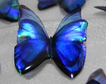 Sparkling blue iridescent handcrafted resin butterfly embellishment for art craft jewellery