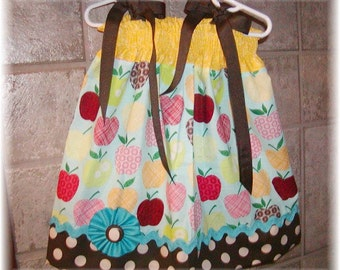 Girls Dress  Pillowcase style....Choco Applicious...sizes 0-3, 0-6, 6-12, 12-18, 18-24 months, 2T, 3T