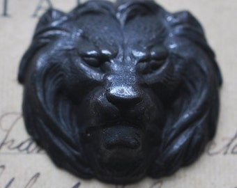 Small  Lion Brass Stamping, Black Satin finish