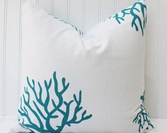 Coral Pillow Cover, Sea Coral, Beach Coral, Turquoise Coral Pillow, Throw Pillow, Accent Pillow, Beach Decor, Sea Coral Beach Coral Pillow