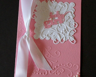 "Handmade Embossed Pink ""Baby Girl"" 5 x 7 Card with Embossed Envelope"