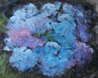 Hydrangea paintings, flower art, blue and purple flowers, gifts for mom, purple flower painting, textured canvas, summer blooms hydrangea