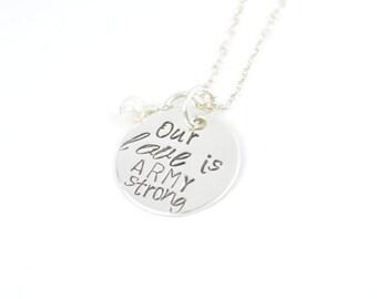 Our Love Is ARMY Strong Necklace, Army Wife, Army Girlfriend, Deployment Jewelry, Wedding Jewelry by Miss Ashley Jewelry