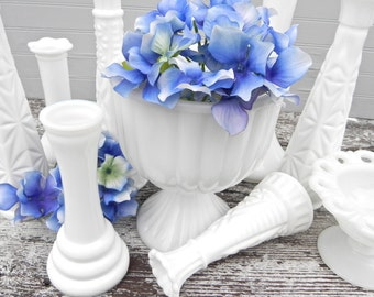 Milk Glass Vase Collection of 12 for Weddings, Home Decor, Assorted Milk Glass Vase Collection,  Shabby Chic Wedding Vase Decor