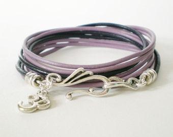 purple leather wrap, personalized leather charm bracelet, boho chic cuff, rocker style, stacking bracelet