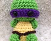 One Crochet Turtle Amigurumi w/ ninja headband -  you choose color! Crochet Amigurumi Animals - Amigurumi Turtle - Crochet for Boys or Girls