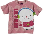Girl's Snowman Shirt, Personalized Pink Christmas Tshirt, Childrens Holiday Clothing