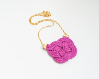 Orchid necklace, fuchsia necklace, pink necklace, knotted necklace, rope necklace, orchid and gold, knotted pendant, summer trends