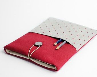 Red Macbook Air 11 case, with pocket, polka dots