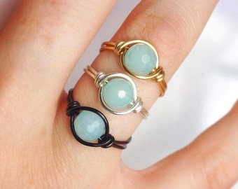 Unique Healing Aquamarine Ring - Chakra Gemstone - Gemstone ring - Wire Wrapped - Gold Silver Black - Made to Order