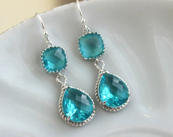 Sea Green Teal Earrings Blue Silver Jewelry Teardrop Glass - Teal Blue Bridesmaid Earrings Wedding Earrings Teal Bridesmaid Jewelry