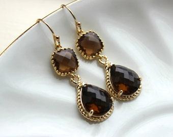 Smoky Brown Earrings Gold Two Tier Teardrop Topaz Bridesmaid Earrings - Bridal Earrings - Wedding Jewelry - Brown Bridesmaid Jewelry