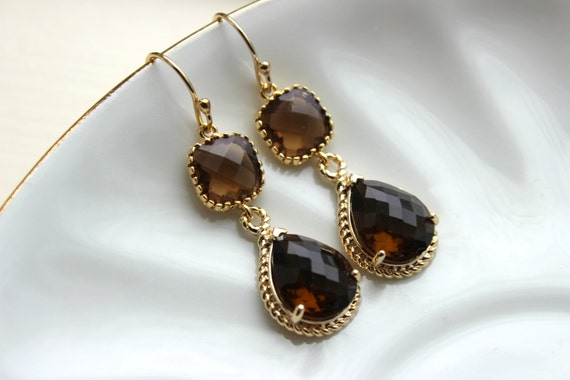 Smoky Brown Earrings Gold Two Tier Teardrop Topaz Bridesmaid Earrings - Bridal Earrings - Wedding Jewelry - Brown Bridesmaid Jewelry