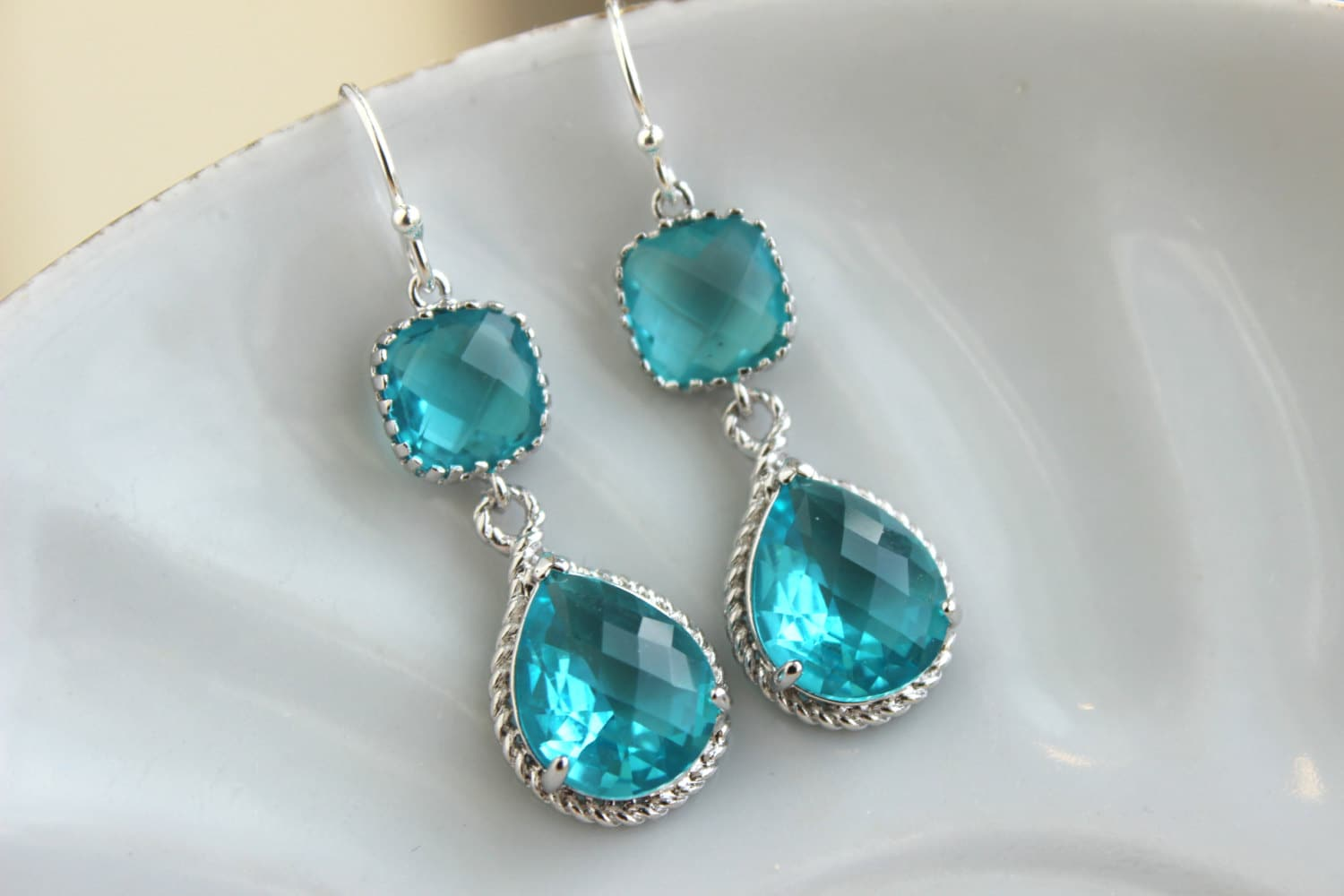 sea green teal earrings blue silver jewelry teardrop glass