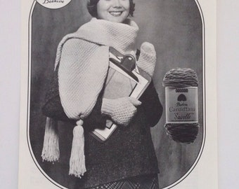 Beehive Knitting Crochet Pattern Patons Knit Hat Mitts and Scarf Pattern Instruction Leaflet No 318