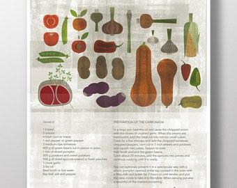 CARBONADA food poster - Original ILLUSTRATED Recipe Digital Image Download