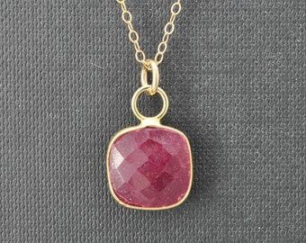 Ruby Necklace, 14k Gold Filled Chain, Bezel set Necklace, Gemstone Necklace, Ruby pendant