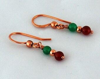 Carnelian Aventurine Copper Natural Stone Drop Earrings