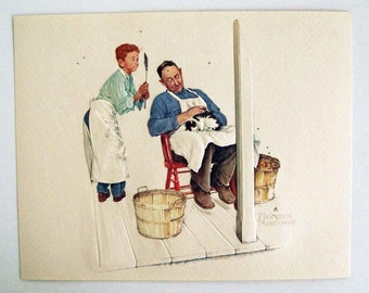 Vintage Norman Rockwell Swatter's Rights A Helping Hand Series Embossed Print