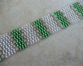 """Cuff bracelet handcrafted with silver lined Bead Woven Bracelet Handmade 7 1/2"""" USA made beaded"""