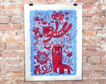 "18x24"" Red and Blue Springtime Crazies (2 color Screen Print)"