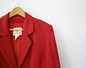 French Vintage Weill Jacket, Red Wool Coat, Retro Woman Fashion, Circa 80s, Tailored Jacket, 44, L, Winter couture Fashion, Christmas gift