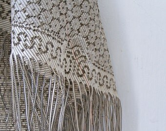 80s Stone Pale brown Fringed Triangle big Shawl, Light summer Autumn accessories, Perforated transparent Big Headcovering, Side Tablecloth
