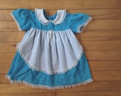 vintage BLUE + WHITE POLKADOT Dress w/ Peter Pan Collar, Apron | Hipster Kid Children's Baby Toddler (24 Months)