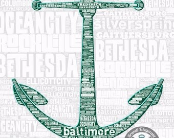 Maryland Cities Typography Anchor Wall Decor At Checkout, Choose Lustre Print or Gallery Wrapped Canvas