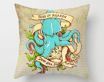 Tattoo Octopus Throw Pillow Nautical Beach Decor Mariner Boat Home Decor