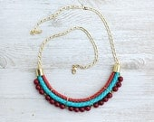 Meteorites Statement Turquoise & Red colors Agate Necklace by Pardes