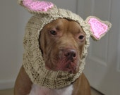 Dog Ear Warmer Crochet Tan Rabbit MADE TO ORDER