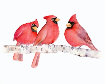 Three Cardinals Watercolor Print- 5 X 7