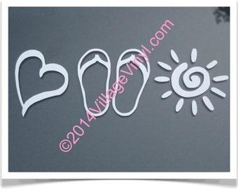 Live Love Laugh Heart FlipFlop Sun Vinyl Decal Car Window Decal Window Sticker