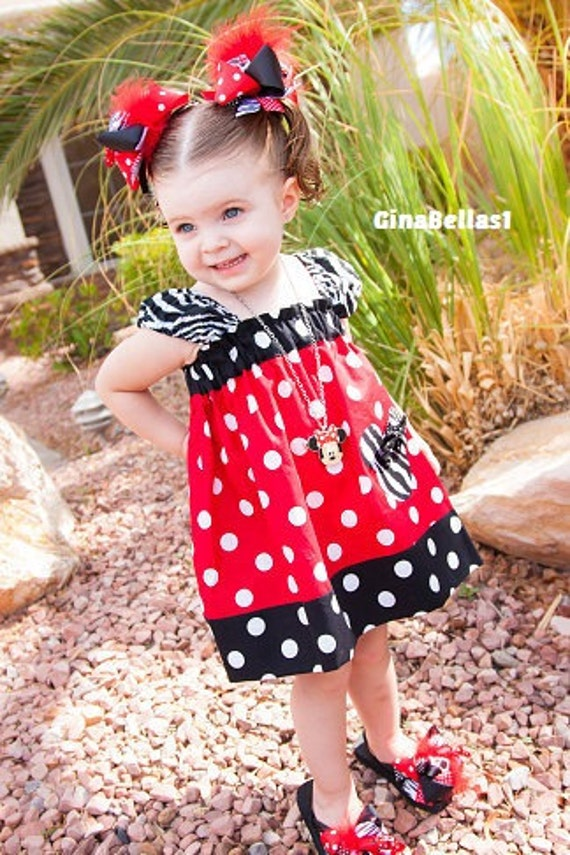 Minnie Mouse outfit dress baby girl Red black pink 1st Disney Birthday twins girls shirt zebra peasant 6 9 12 18 months 2t 3t 4t 5 6 7 8 10