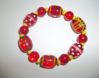 Bright And Vivid Red & Yellow Lampwork Glass Beaded Bracelet