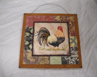Country Rooster Kitchen Wooden Wall Art Sign farm french decor